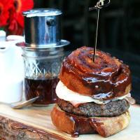 Houston, fancy breakfast sandwiches, June 2017, sticky bun breakfast burger at Bosscat Kitchen