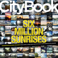 Houston CityBook cover with Houston sunrises after flooding