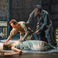Tia Laulusa, Kim Fischer, and Alex Organ in Dallas Theater Center's Frankenstein