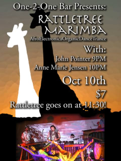 Rattletree Marimba at one 2 one bar flyer