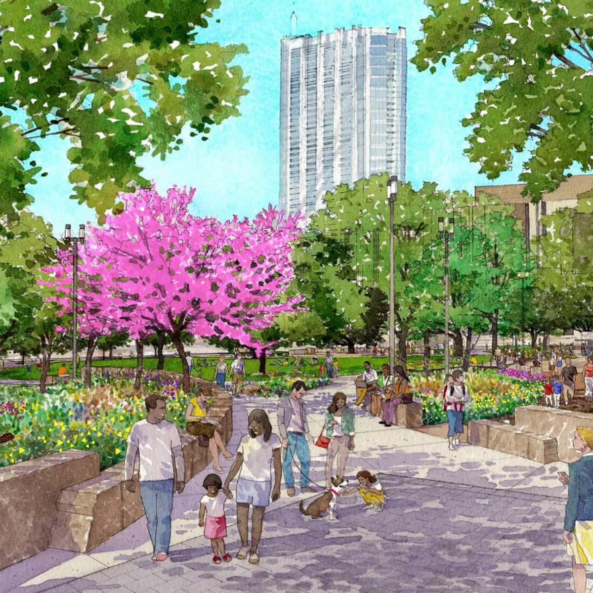 Republic Square Park downtown Austin renovation rendering 2016