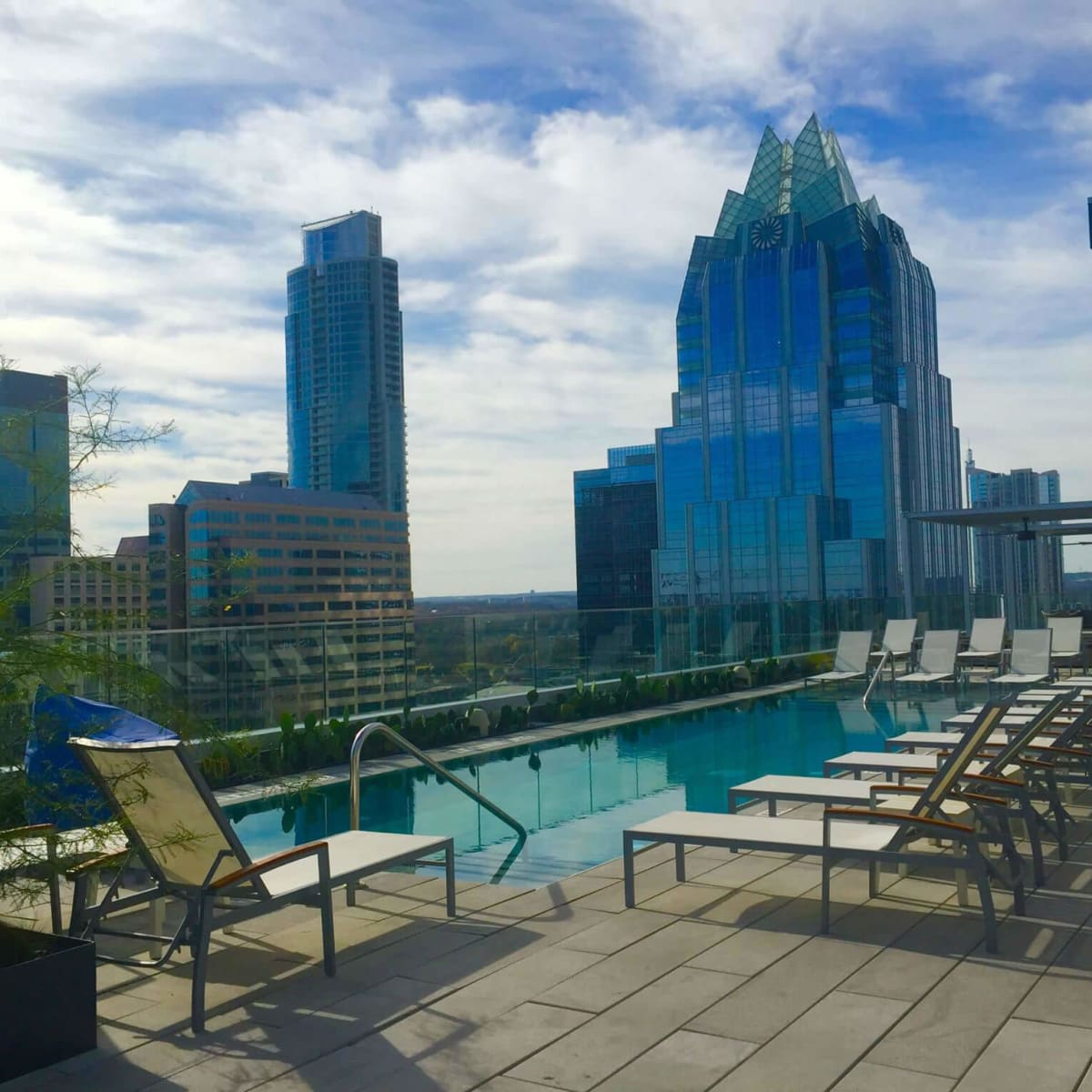 The Westin Austin Downtown hotel rooftop pool skyline