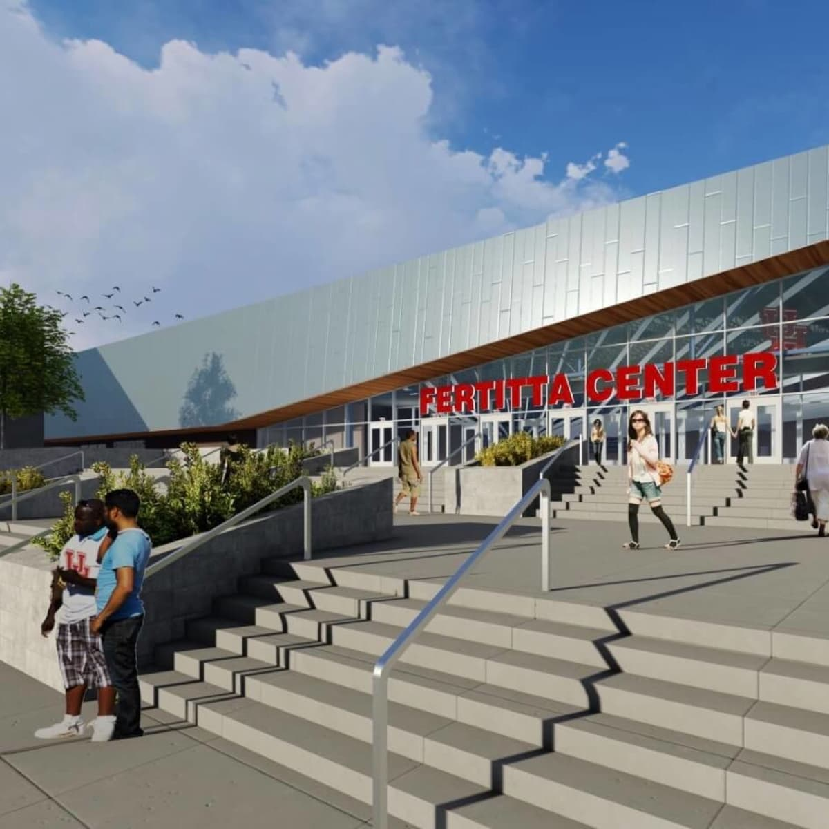 Fertitta Center exterior rendering