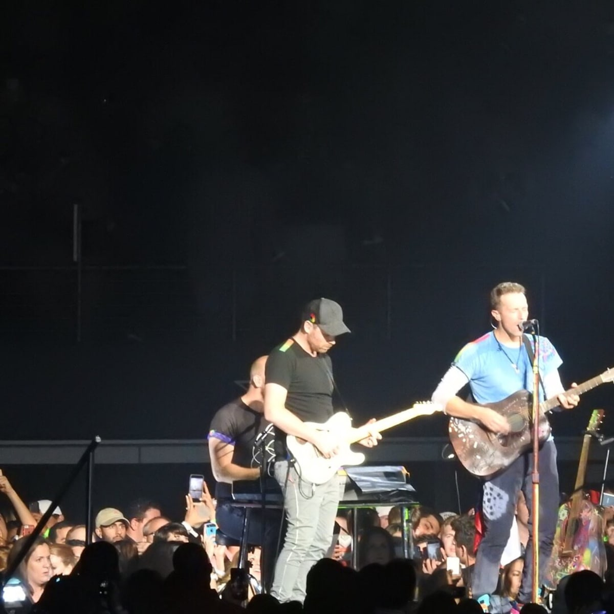 Coldplay performed several acoustic numbers on a small stage
