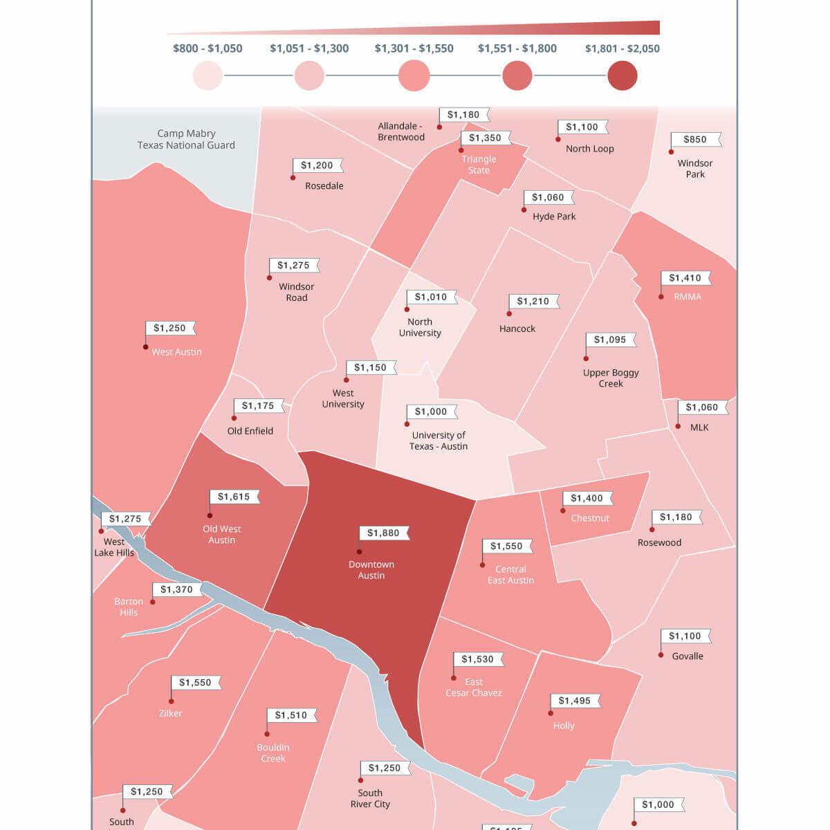 Zumper Austin rent map fall  2016