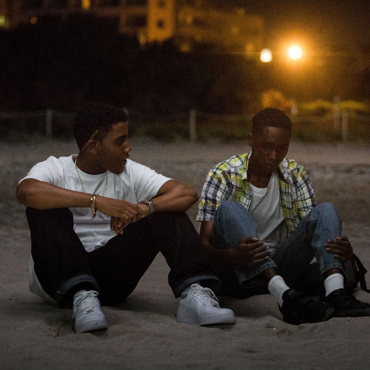 Jharrel Jerome and Ashton Sanders in Moonlight