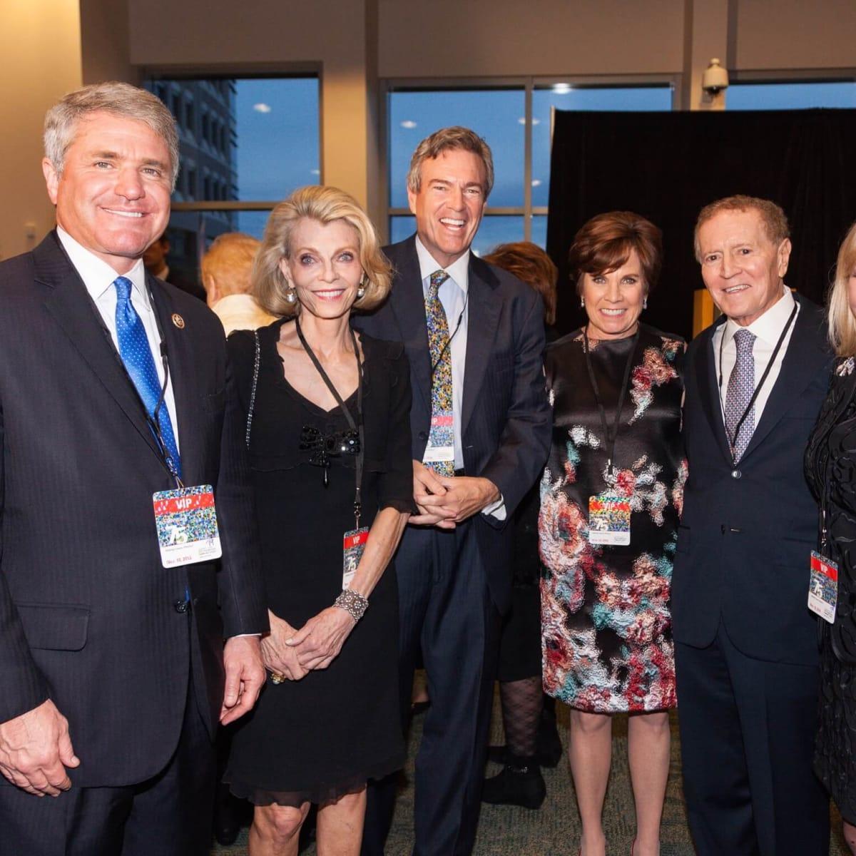 Mike McCaul, Alice Burguieres, Jim Hackett, Maureen Hackett, Mel Klein, Linda Mays McCaul at MD Anderson 75th anniversary gala