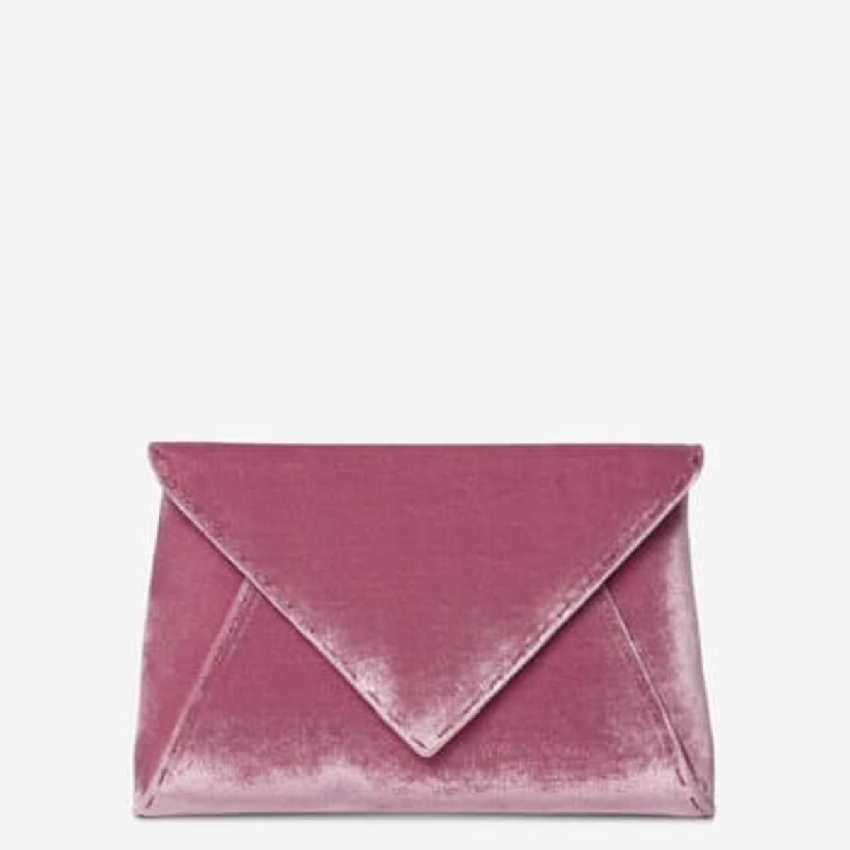 Tyler Ellis crushed pink velvet clutch