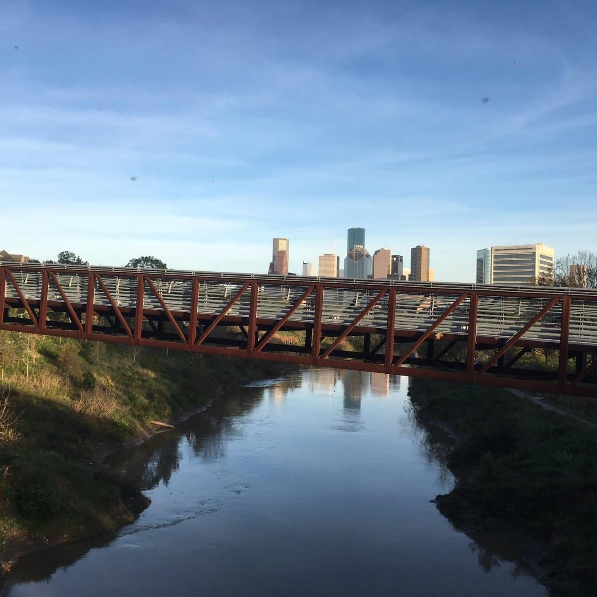 Pedestrian bridge at Buffalo Bayou Park