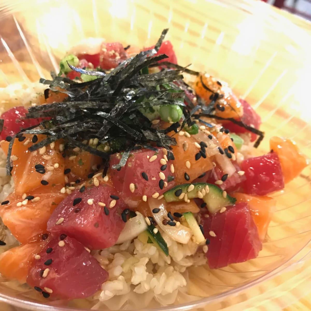 Ono poke tuna and salmon bowl