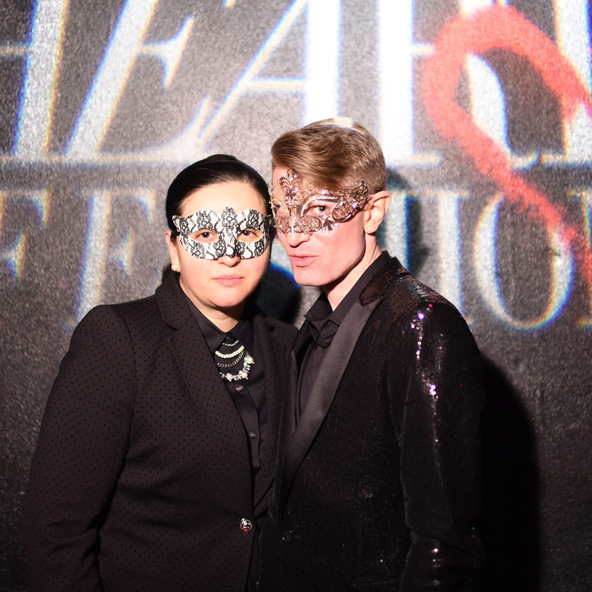 V Hernandez and James Napier at Heart of Fashion Masquerade Ball
