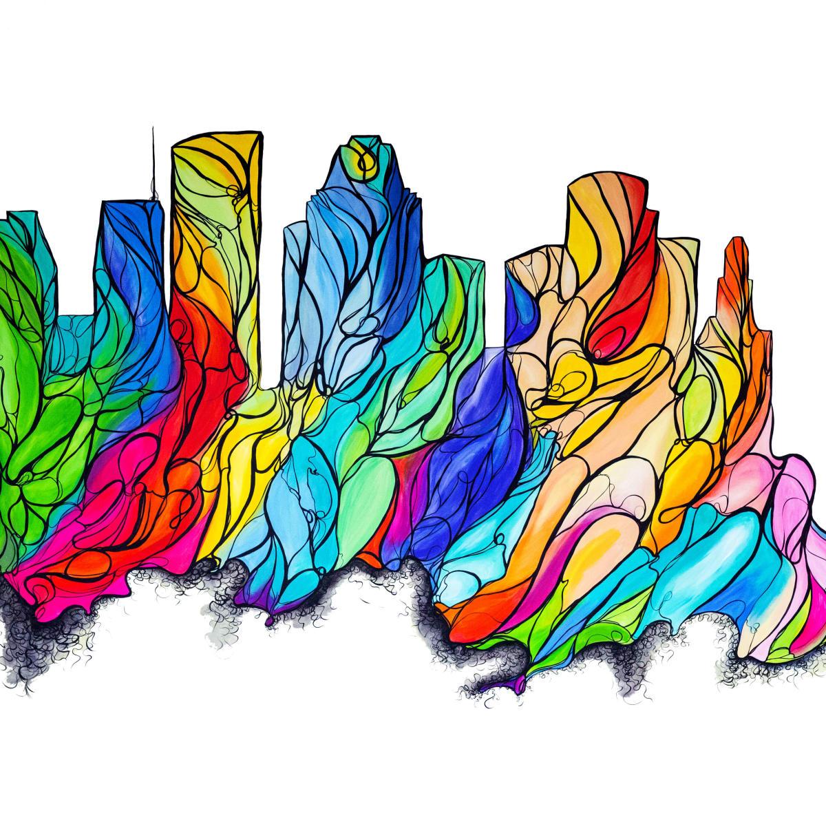 Janavi M Folmsbee Houston Cityscape Mural