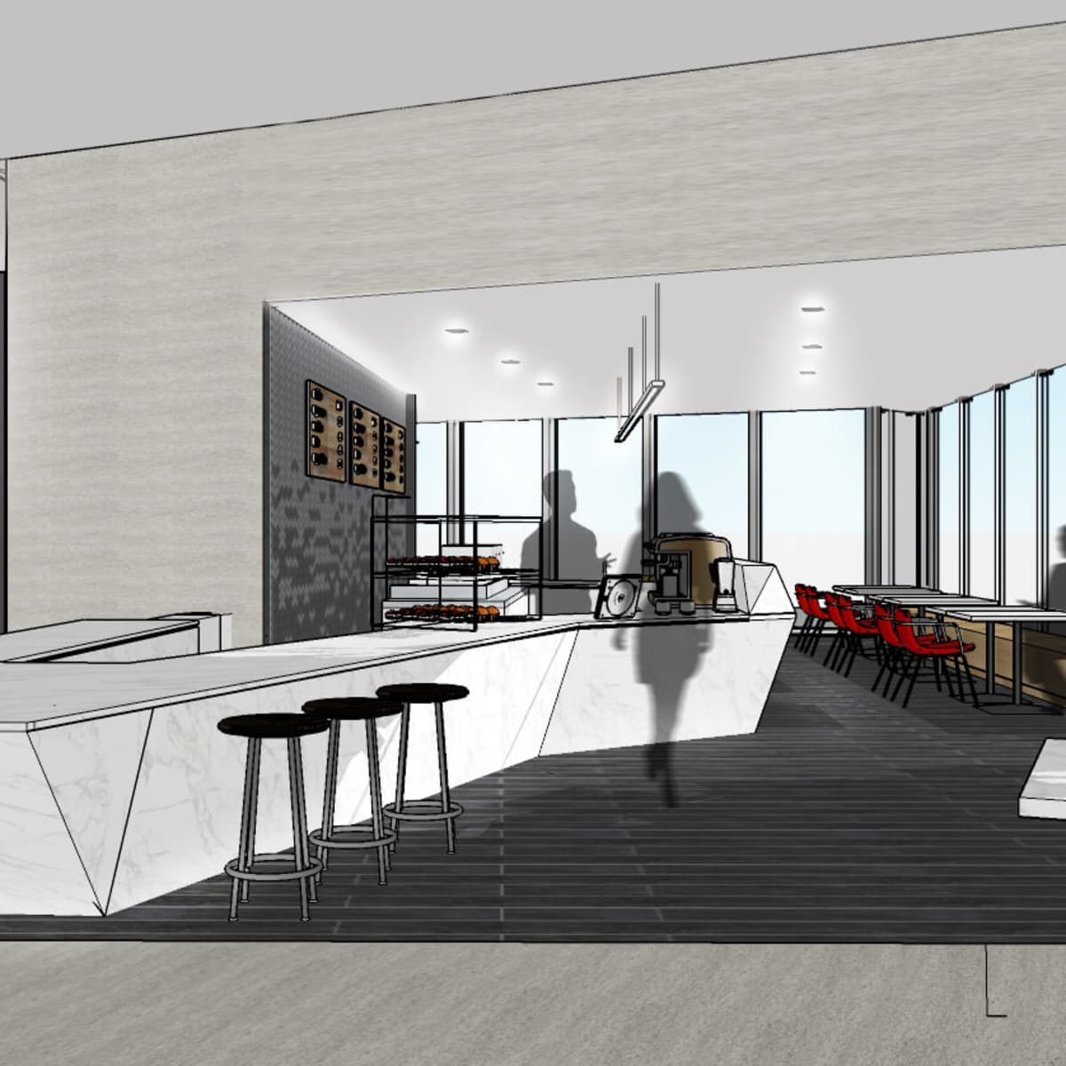 Houston, Prelude Coffee and Tea, Jan 2017, Prelude Coffee and Tea interior rendering