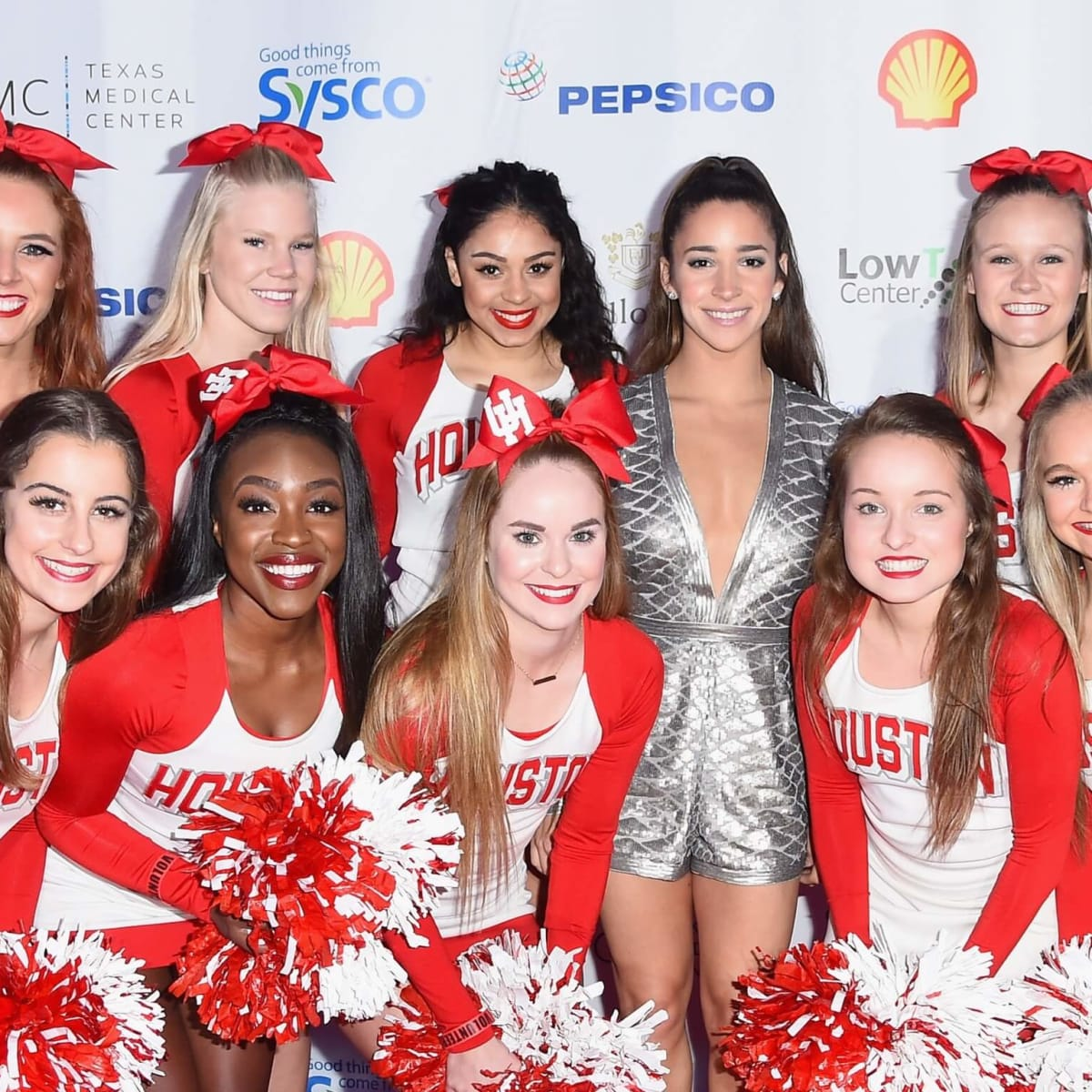 Aly Raisman, University of Houston cheerleaders at Taste of the NFL