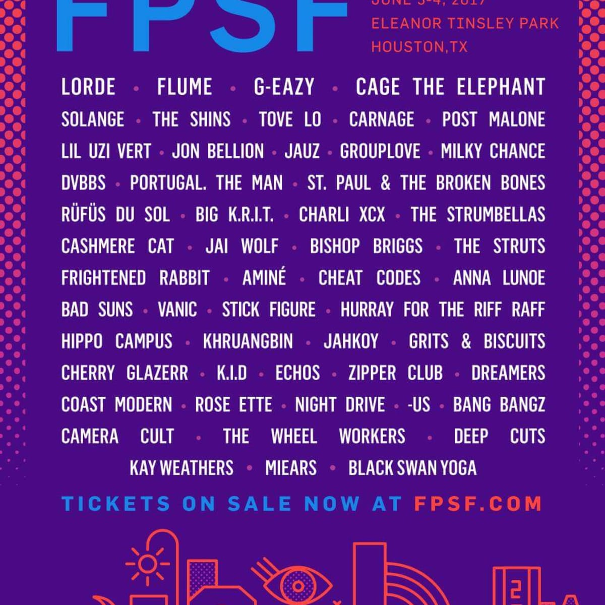 Houston, FPSF 2017 music lineup, Feb 2017, flyer