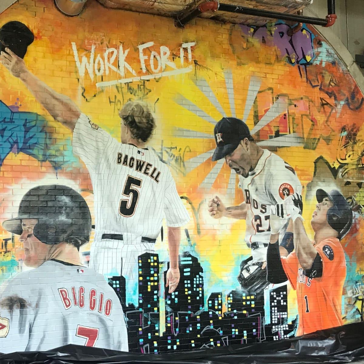 Astros Minute Maid park center field graffiti mural