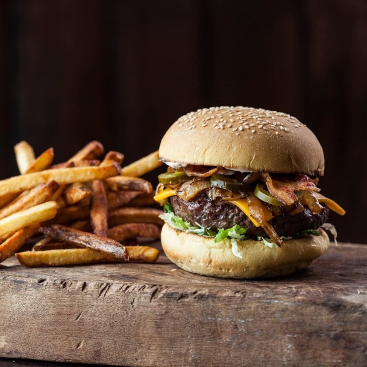 Beck's Prime burger and fries