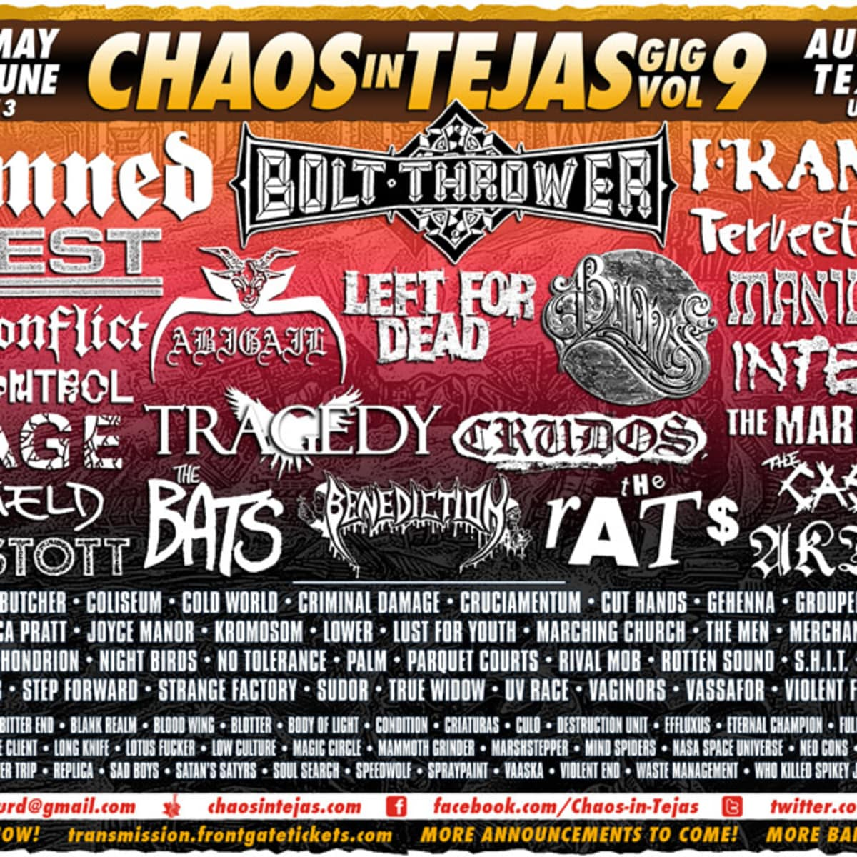 lineup for 2013 Chaos in Tejas music fest