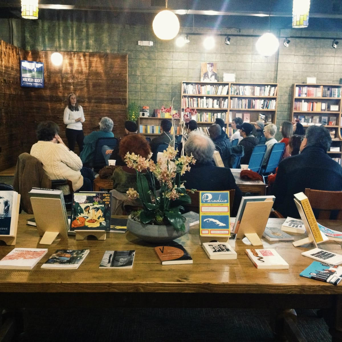 Group gather at Malvern Books