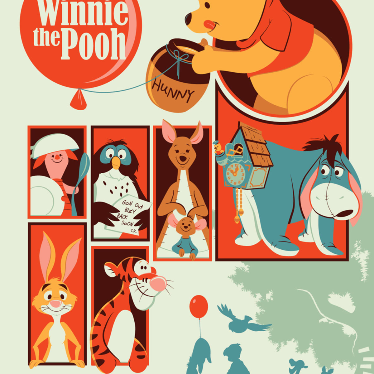 "Winnie the Pooh by Dave Perillo as part of Mondo Gallery ""Nothing's Impossible"" exhibition"