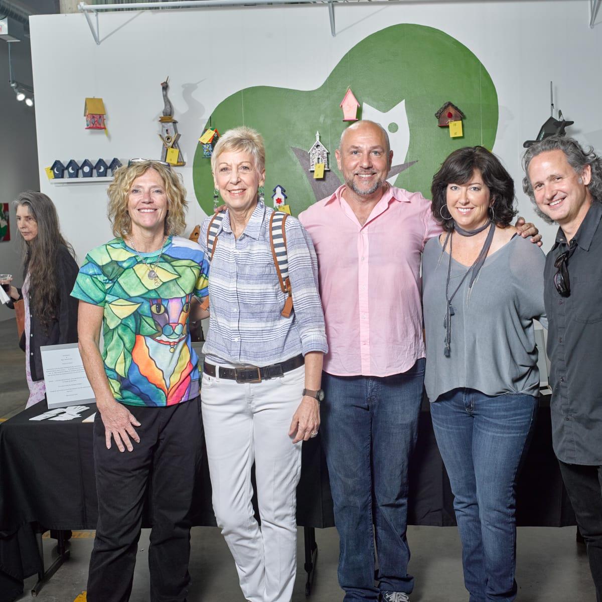 Participating artists in celebrity birdhouses, April Murphy, Chris Silkwood, Nicola Parente, Susan Tietz, Taft McWhorter at Sawyer Yards Artist Stroll