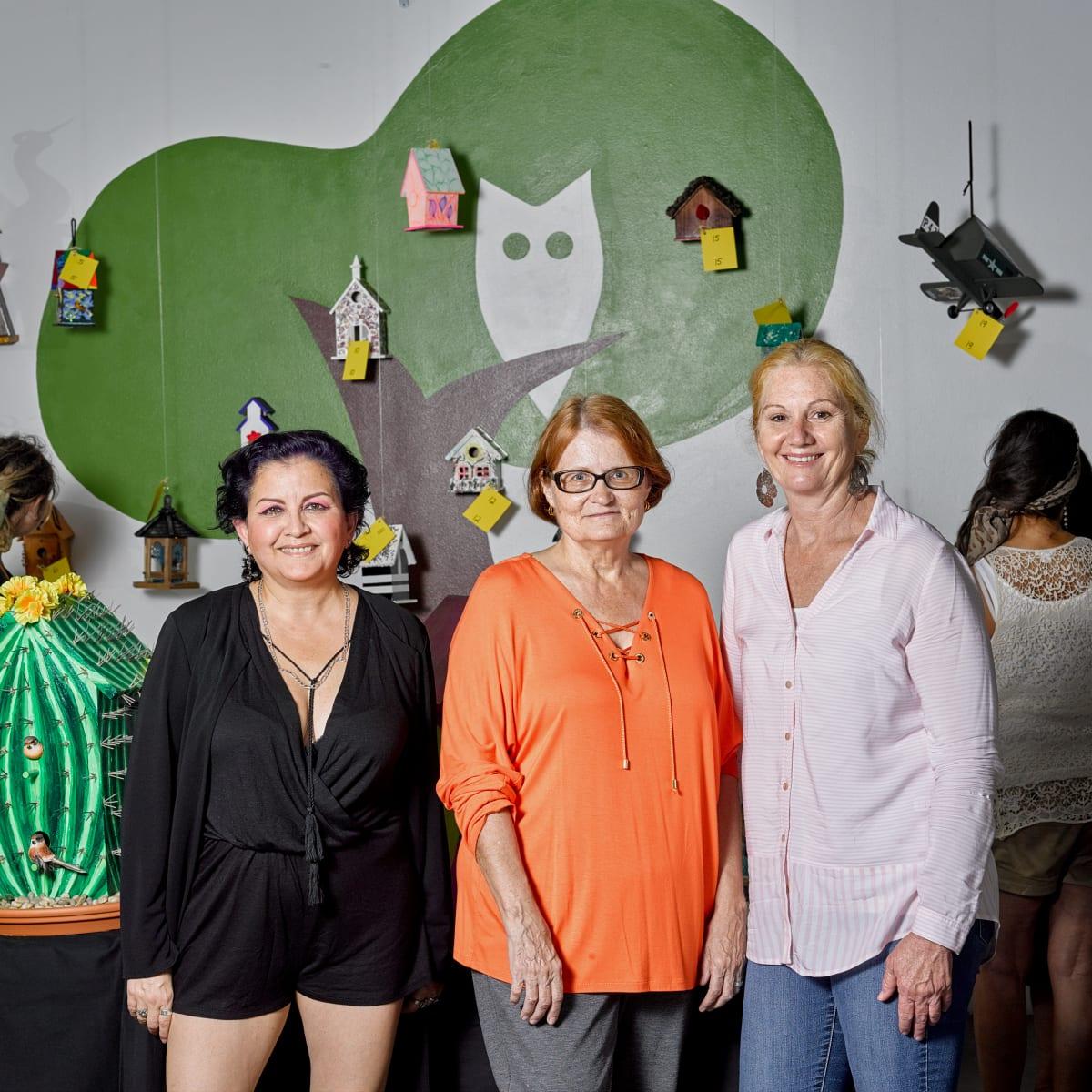 Event chairs Monica Melgar, Janet Roe with Houston Arboretum director Debbie Markey at Sawyer Yards Artist Stroll