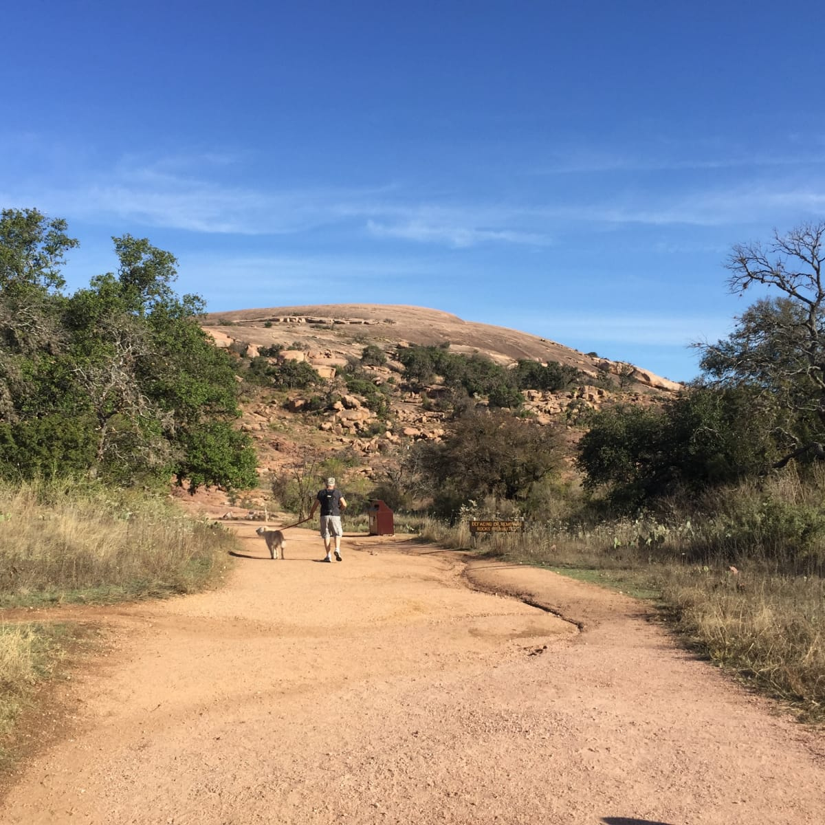 Enchanted Rock looming in the distance