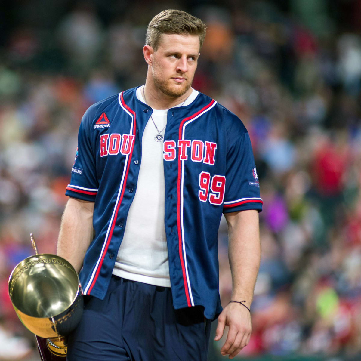 Houston, 5th annual JJ Watt Charity Classic, May 2017, J.J. Watt and trophy