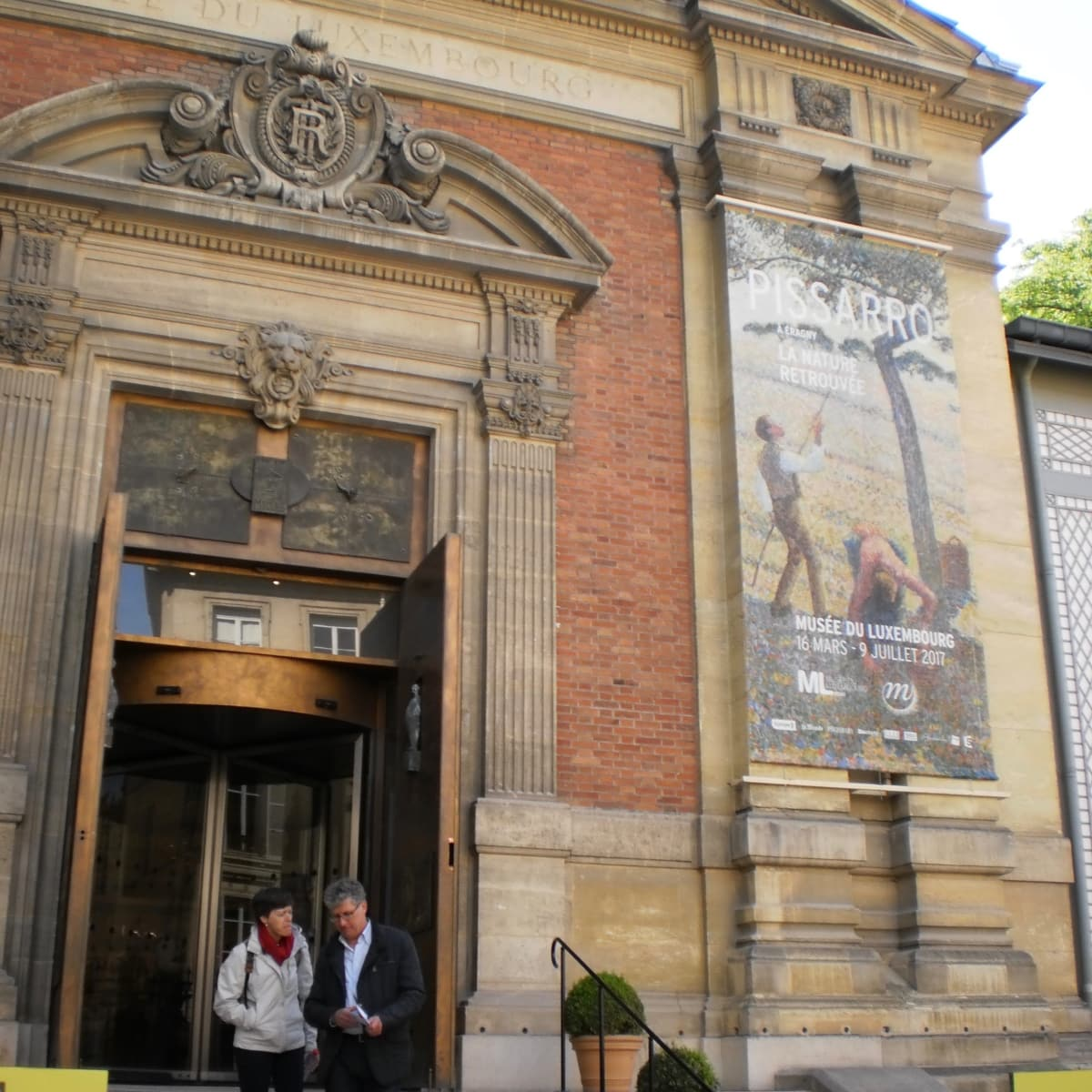 """""""Pissarro in Eragny"""" banner at Musee du Luxembourg in Paris"""