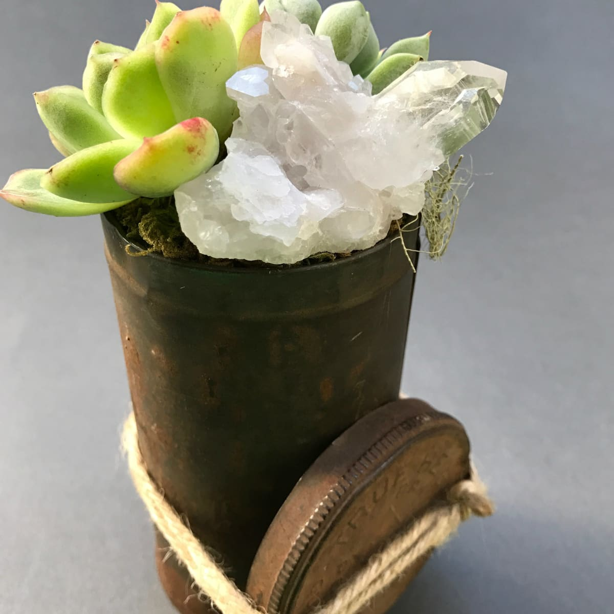 Lone Chimney Mercantile succulent and crystal arrangement