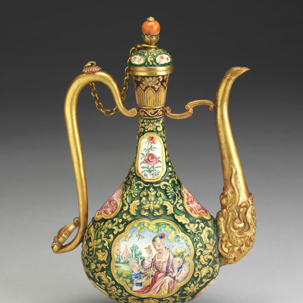 Champleve ewer with European figures in landscape, Qing Dynasty at Museum of Fine Arts, Houston