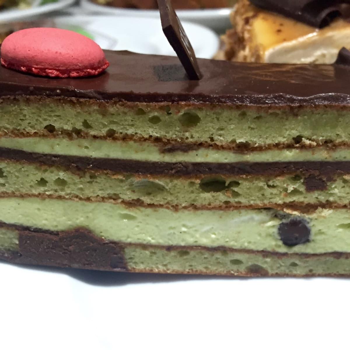 Flo Paris pistachio opera cake
