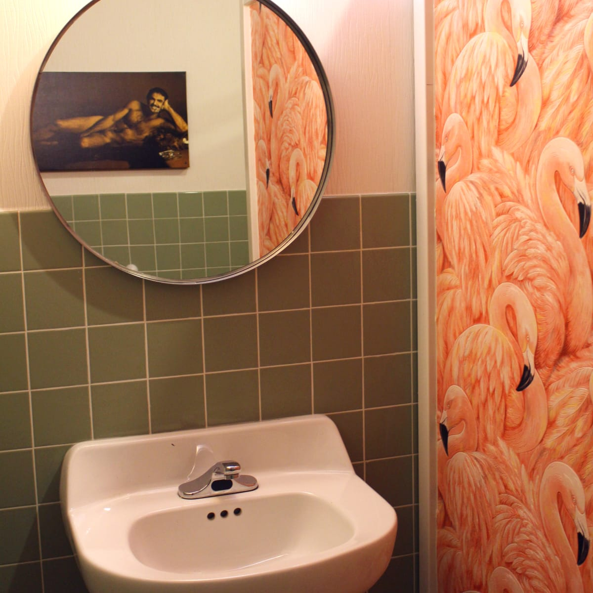 Kitty Cohen's Austin bar women bathroom flamingo