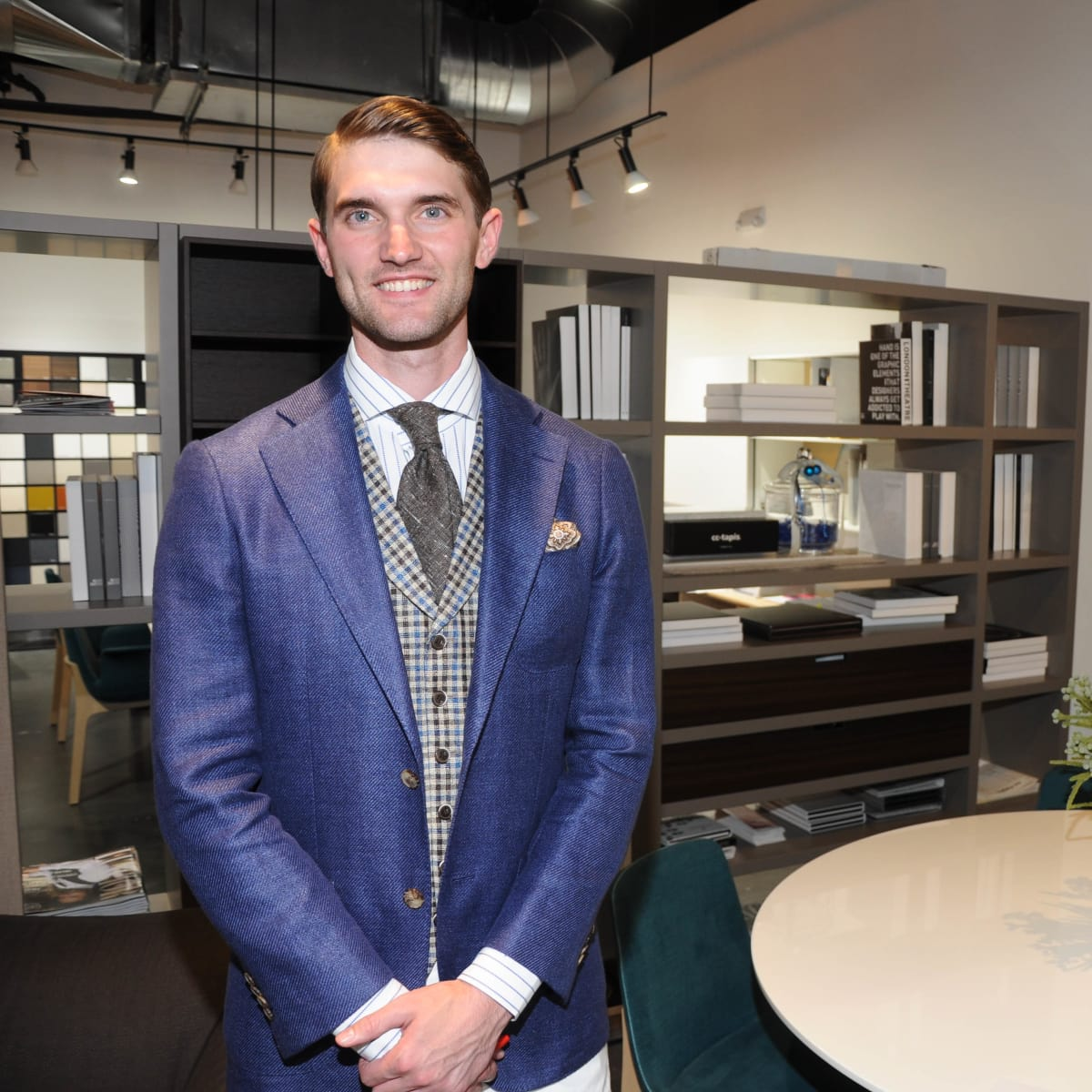 West Ave Destination Design, Neal Hamil model wearing SuitSupply suit