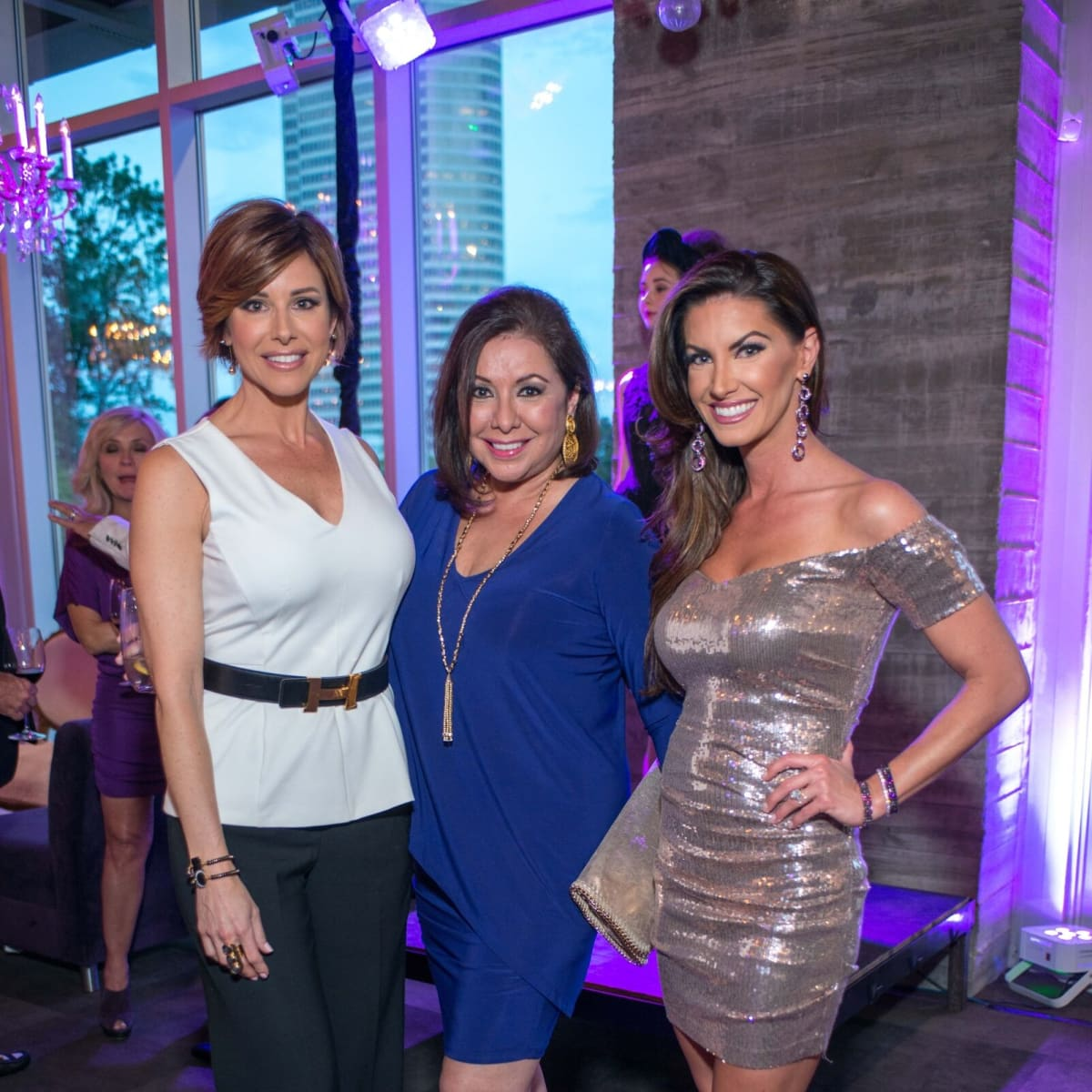 Purple party, Dominique Sachse Florescu, Debbie Festari, Nicole O'Brian Lassiter