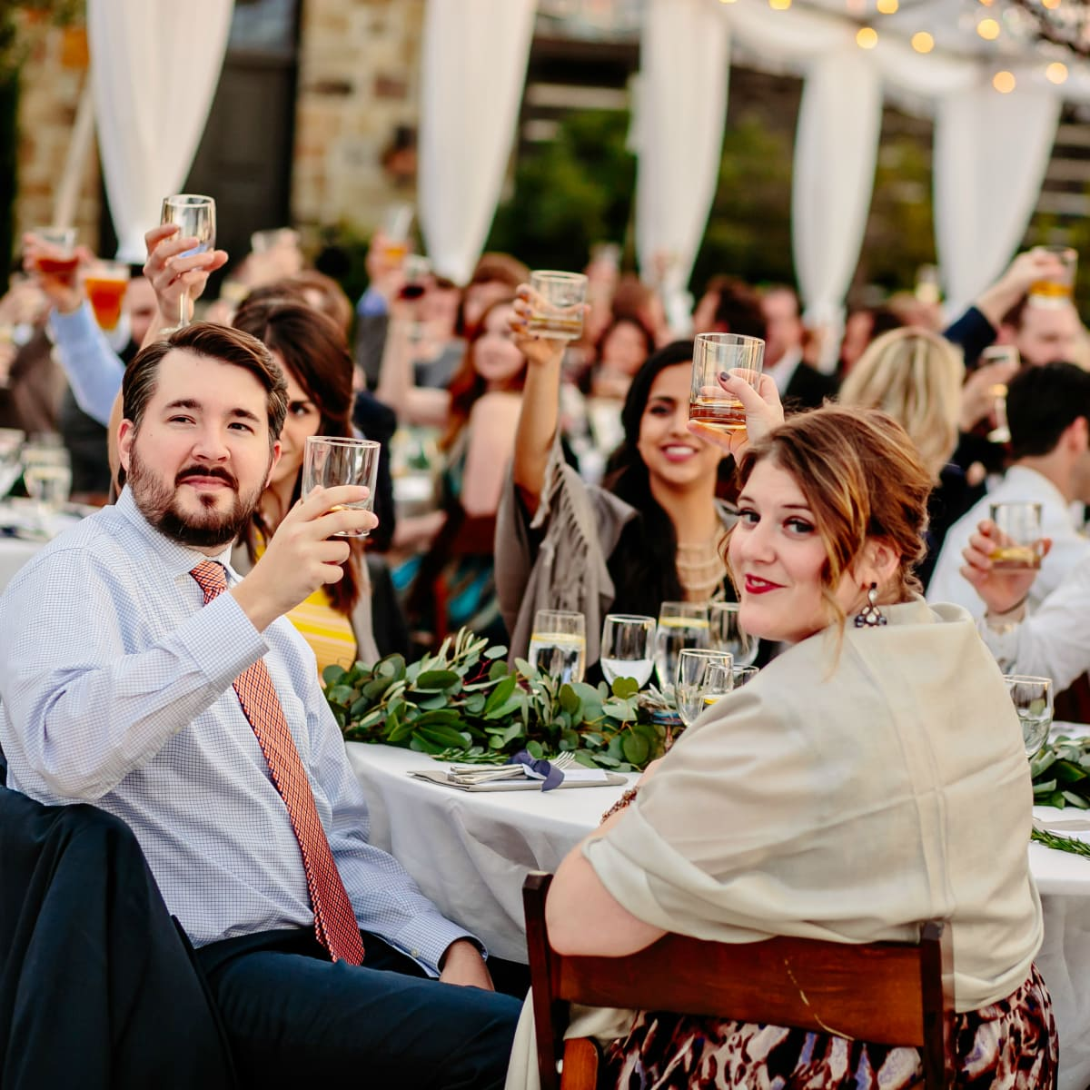 Wedding Maggie Bang and Austen Miller Fredericksburg Boot Ranch toast guests