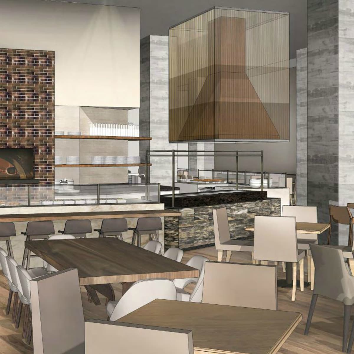 Hilton Austin downtown hotel 2016 renovation rendering restaurant Cannon + Belle kitchen