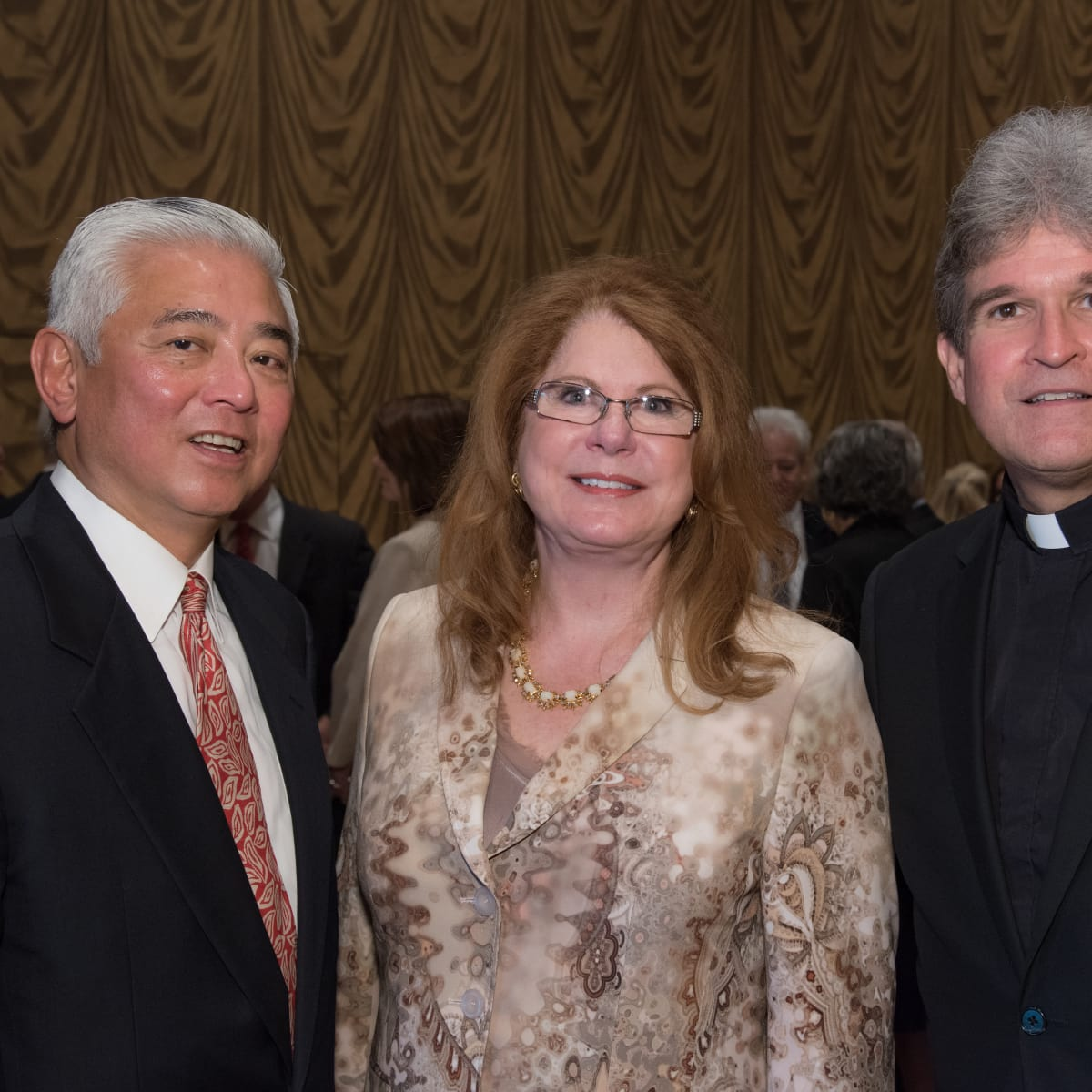 Center for Houston's Future luncheon, March 2016, Michael Jhin, Joni Baird, the Rev. Frank Rossi