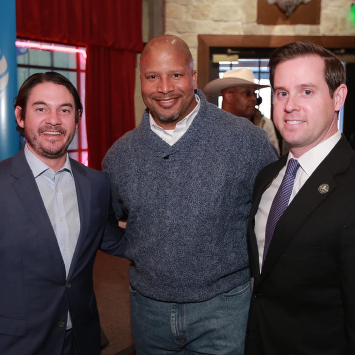 : Joshua Sanders, unidentifed, Chris Brown at Mayor's Rodeo Kickoff Breakfast