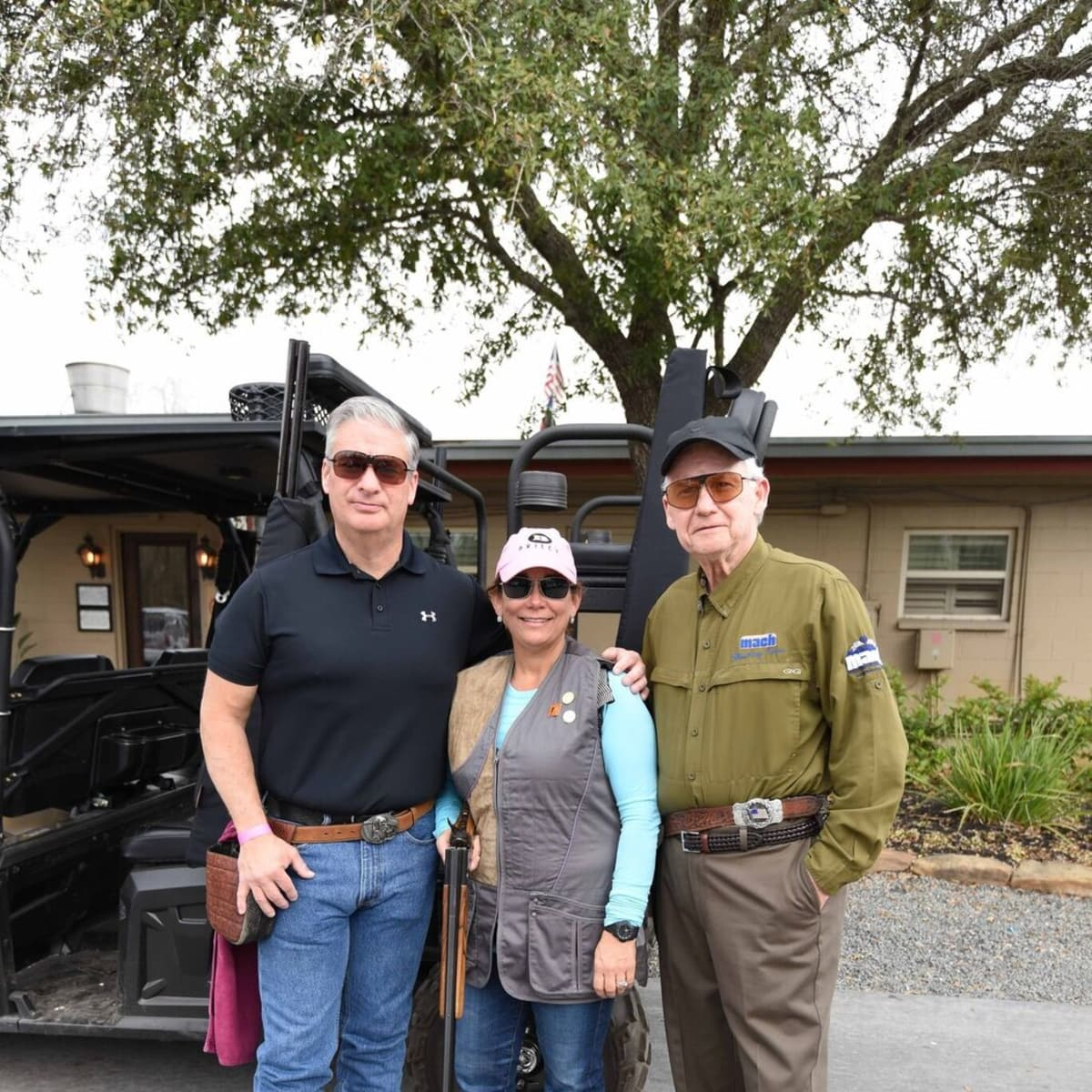 Butch Mach, Carmen Mach, Harry Mach at Memorial Hermann Clay shoot