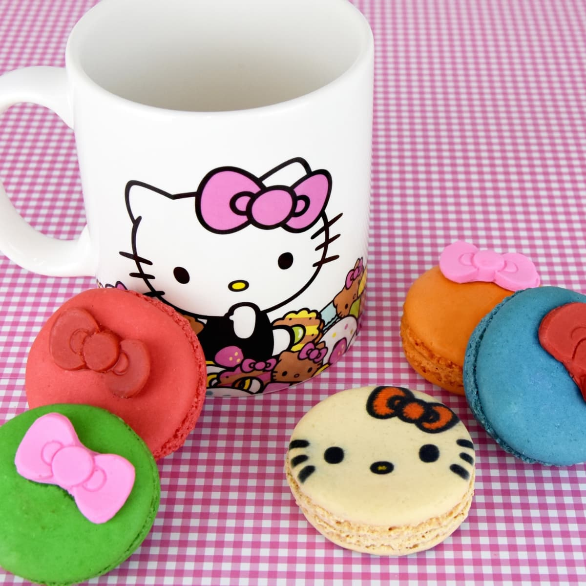 Hello Kitty Cafe truck macarons and mug