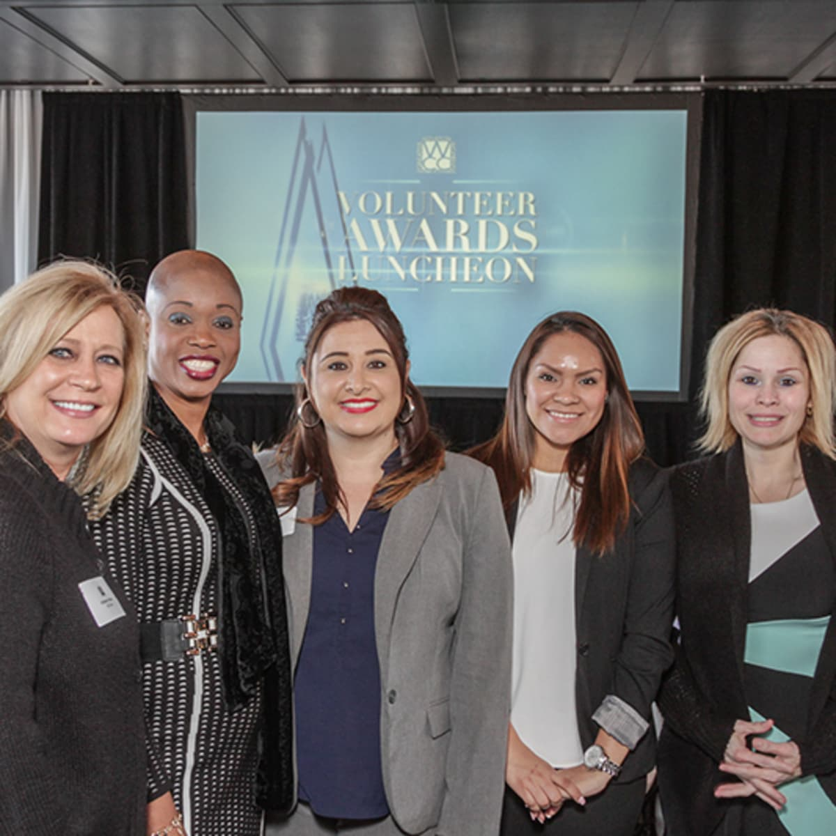 Greater Houston Women's Chamber of Commerce luncheon, Feb. 2016, Kimberly Renko, Anness Bertrand, Priscilla Silva, Matilde Juarez, Tabitha Rodriguez