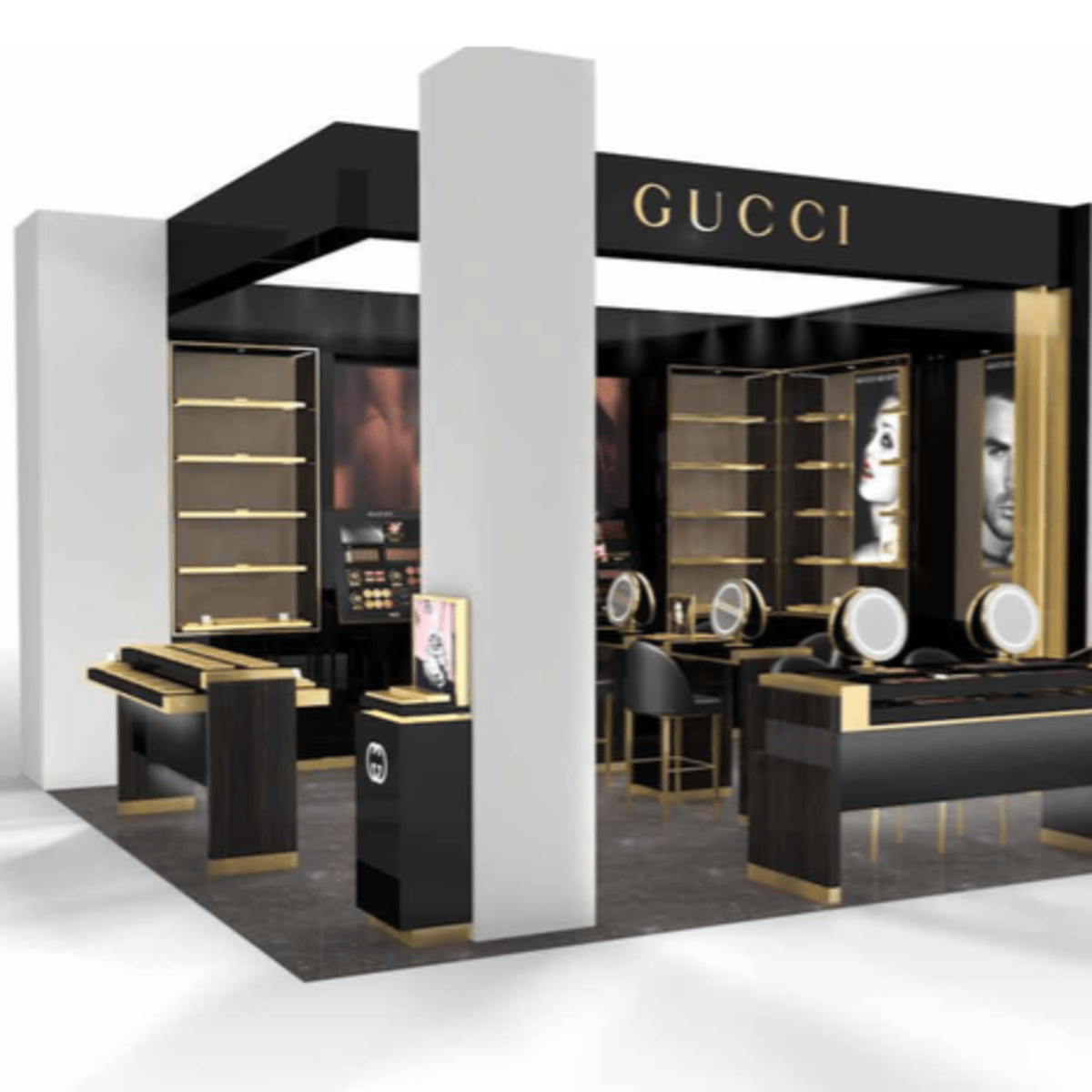 Saks Fifth Avenue Galleria store rendering Gucci beauty department