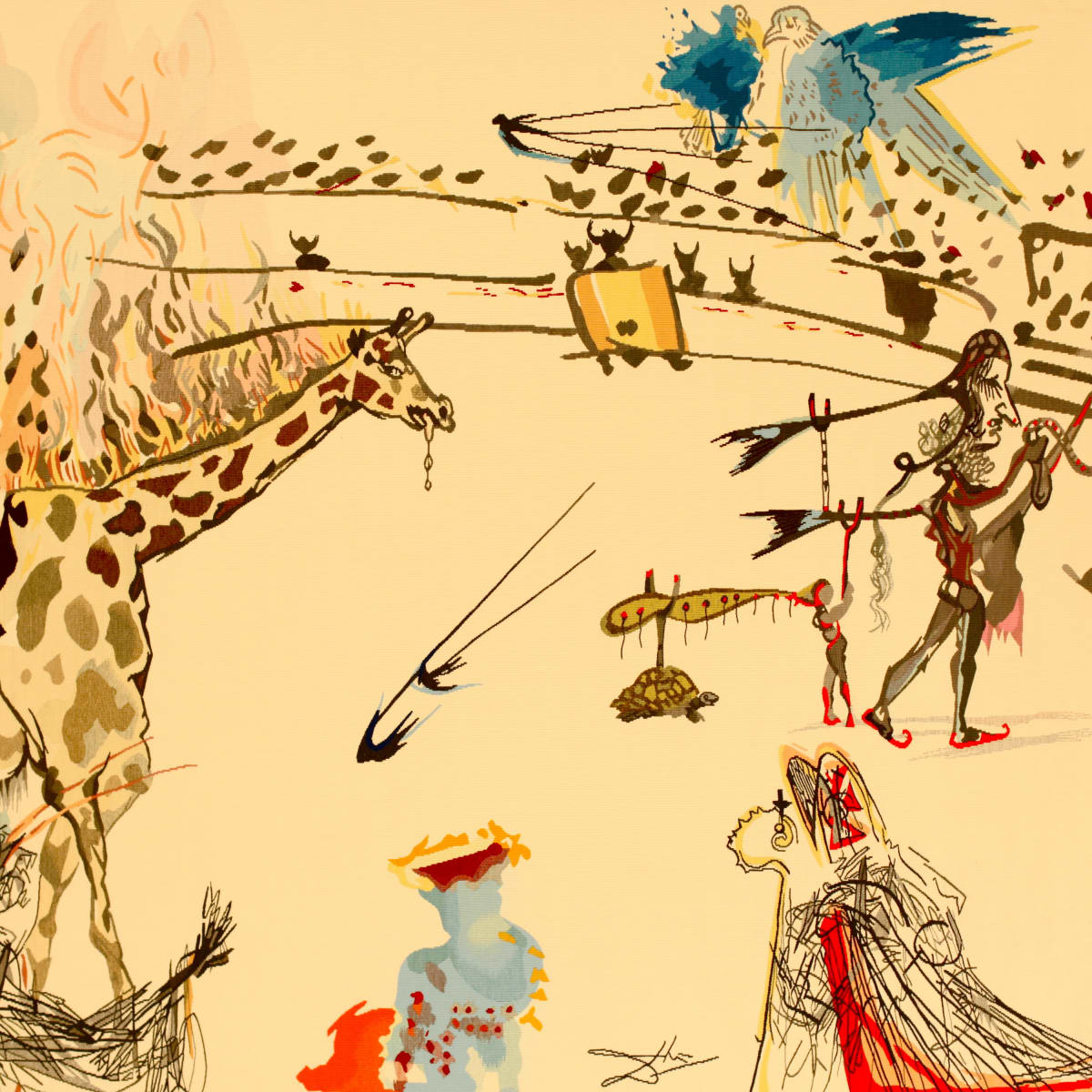 Burning Giraffe tapestry by Salvador Dali