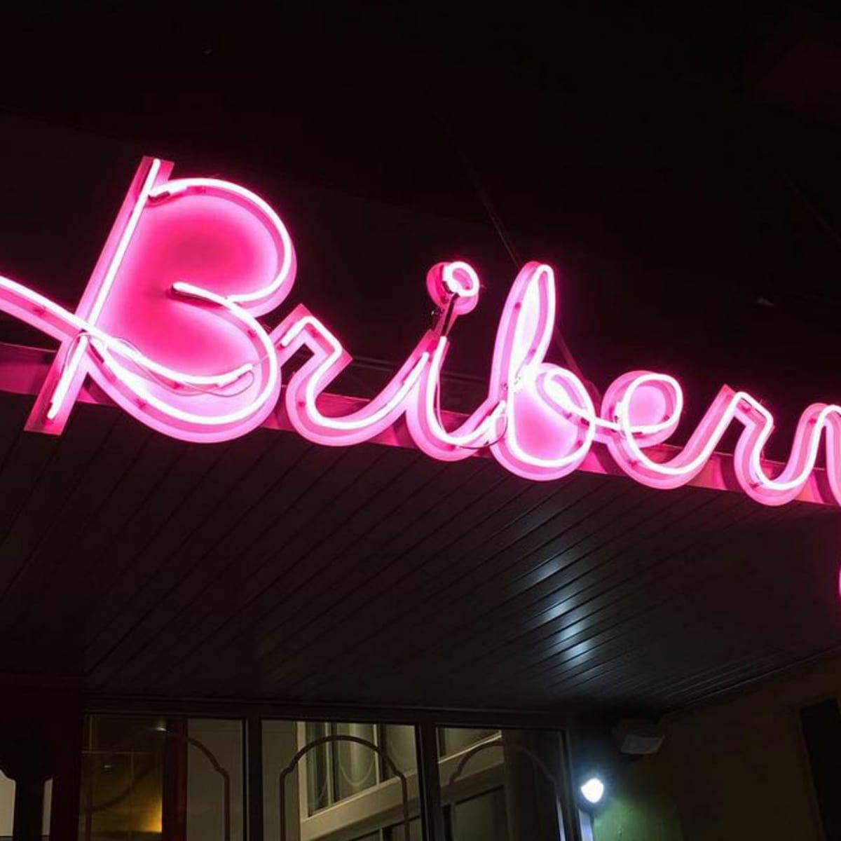 Bribery Bakery Mueller neon sign