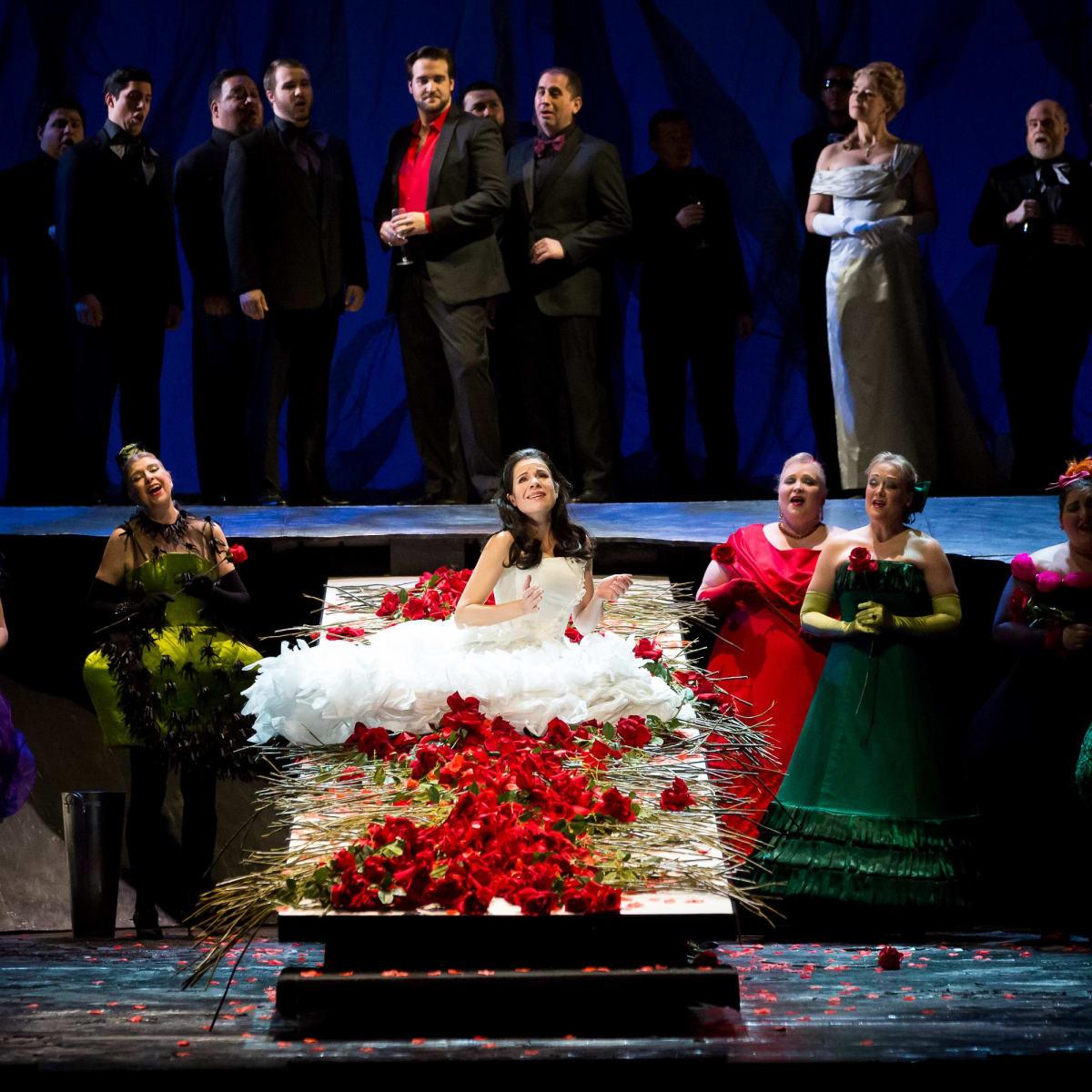 Anna Maria Martinez, Brian Jagde, Maida Hundelingand Houston Grand Opera Chorus in Rusalka