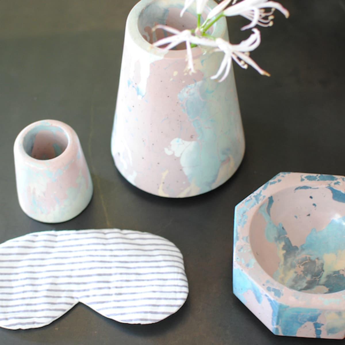 South Congress Hotel Shop concrete cat bowls vases