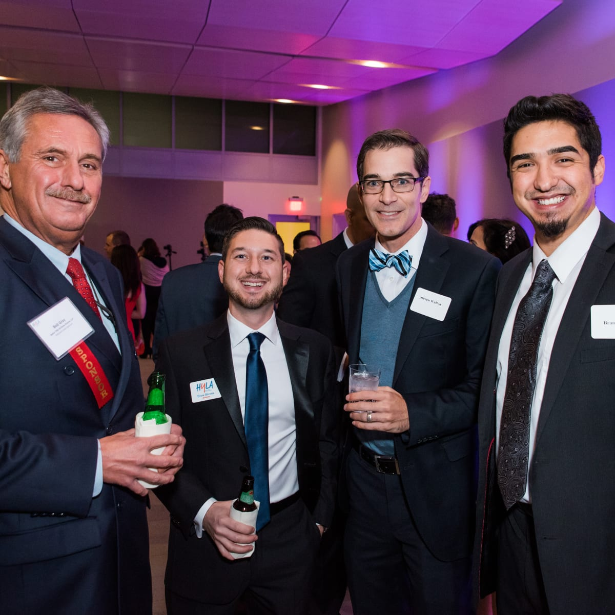 News, Houston Young Lawyers, holiday party, Dec. 2016. : Bob Gray, Drew Bovina, Steven Walton, Brandon Roy