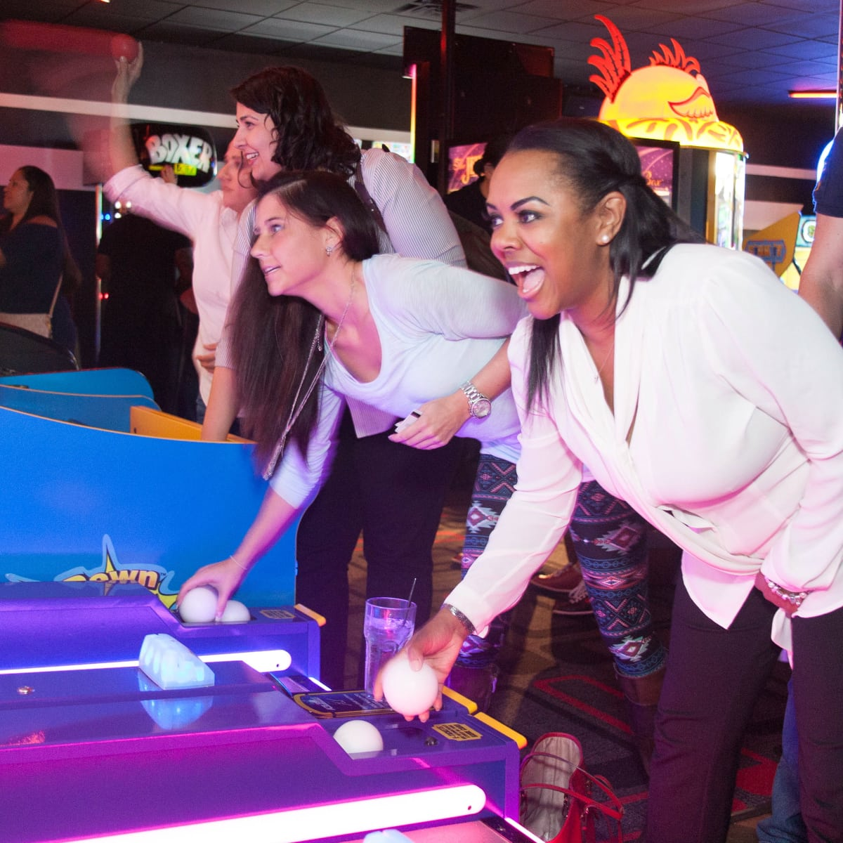 Bowlmor Lanes reopening event skee ball arcade