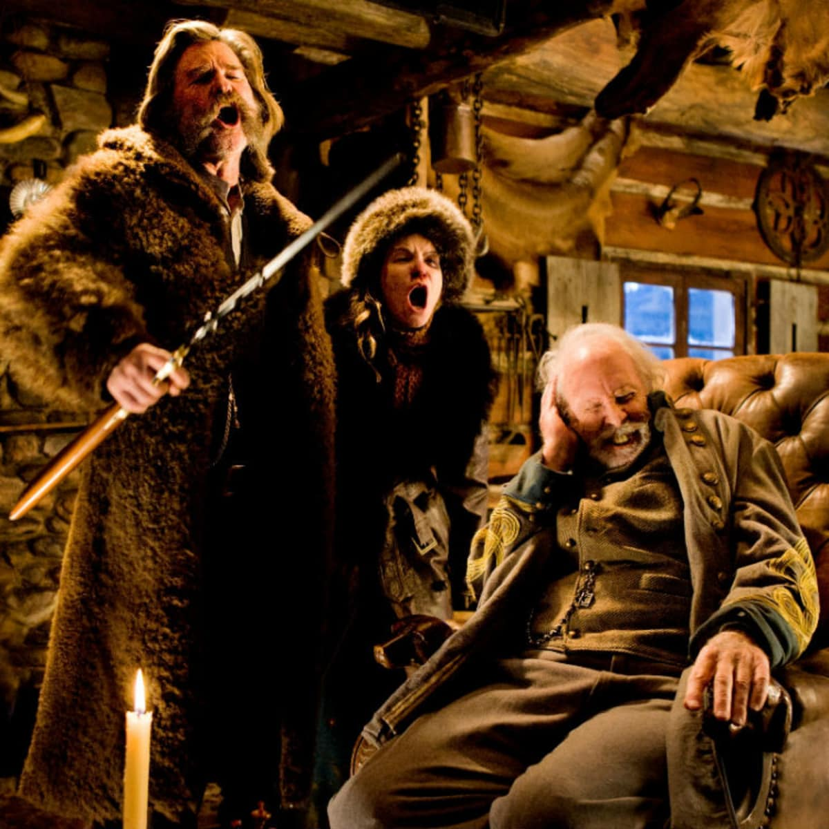 Kurt Russell, Jennifer Jason Leigh, and Bruce Dern in The Hateful Eight
